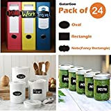 #6: GutarGoo Vinyl Chalkboard Stickers Labels Pack of 24 Stickers of 3 Shapes-Rectangle, Oval, Note (8 Each)