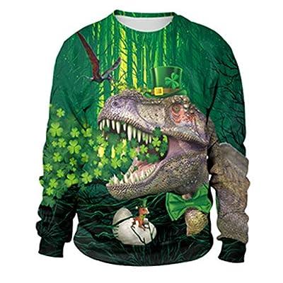 Amphia - 3D St Patrick Tag der Männer langärmliges rundes Kragen-Sweatshirt - Mens 3D Print Lässige St. Patrick's Day Langarm-Bluse mit Rundhalsausschnitt