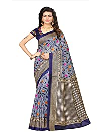 Fabwomen Sarees Floral Print Multicolor And Blue Coloured Cotton Silk Traditional Casual Wear Women's Saree/Sari.