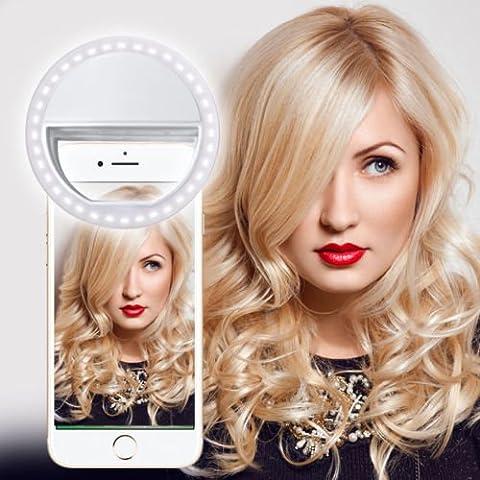 N4U Online® - White Selfie 36 LED Ring Flash Fill Light Clip Camera For iMan i3