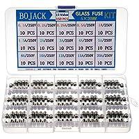 BOJACK 15 Valores 150 piezas Juego de surtido de fusibles de vidrio de fusión rápida 5 x 20 mm 250 V 0,1 0,2 0,25 0,5 1 1,5 2 3 4 5 8 10 12 15 20A paquete en una caja de plástico transparente