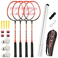 Fostoy Badminton Racket Set, 4 Pack Badminton Rackets with 3 Shuttlecocks & Net, Complete Shuttlecock Kit for Professional & Beginner Players
