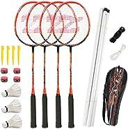Fostoy Badminton Racket Set, 4 Pack Badminton Rackets with 3 Shuttlecocks & Net, Complete Shuttlecock Kit