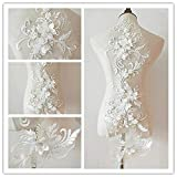 bridallaceuk 3D-Spitzenapplikation, Blumen-Aufnäher, ideal zum Basteln, Nähen, Kostüme, Abenden, Braut-Tops, 20 cm x 72 cm, A1 Light Ivory