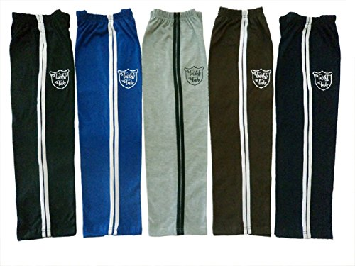 Twist Fab Multi Color Pure Cotton Track Pant Pajama Lowers with Soft Elasticated Waistband for Boy and Girl Pack of Pack of 5 (7-8 Years)