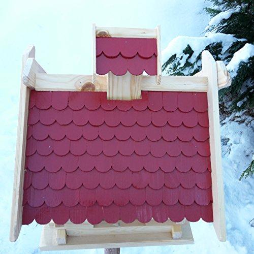 Großes XXL Vogelhaus Schreinerarbeit Futterhaus Vogelhäuschen — Wetterschutz lasiert — Blockhaus Holz Vogelhäuser (Rot) - 2