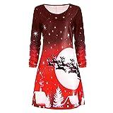 FIRSS Frauen Kleid Elch Design Weihnachtskleid Rundhals Rentier Cocktailkleid Weihnachtsmotiv Knielang Strandkleid Retro Winter Faltenrock