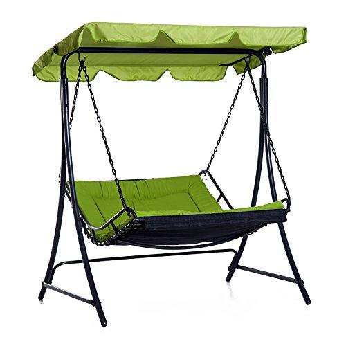 Outsunny Himmel Swing Stuhl Bett 2Personen Doppelter Hängematte Garten Bench Schaukelstuhl Sonnenliege im Backyard Möbel mit Kissen–Grün