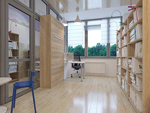 Hochkantbett Schrankbett Smartbett mit Matratze Foldaway bed 90 x 200 cm Vertikal Eiche Sonoma - 3