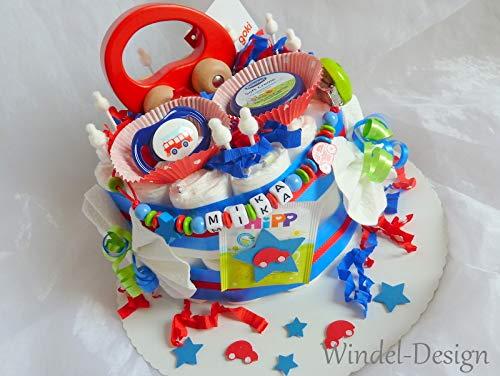 Windeltorte flotter Flitzer Auto Junge, Geschenk, Babyparty, Geburt oder Taufe, auf Wunsch mit Grußkärtchen