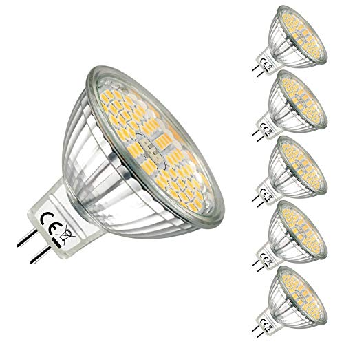 EACLL Bombilla LED MR16, Blanco Cálido GU5.3 LED 12V 5W 500 Lúmenes Lámpara LED equivalente a Halógena de 60W. 120 ° Luz Blanca Cálida Bombillas LED, Pack de 5
