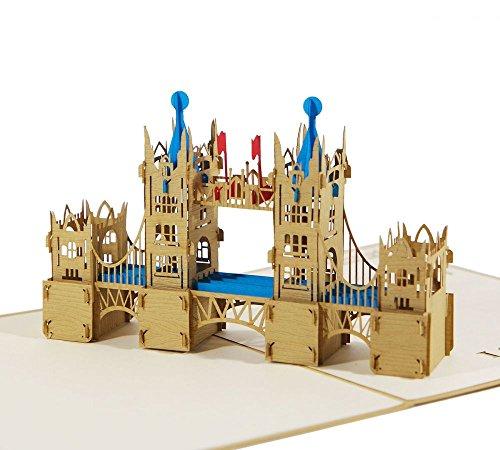 London Tower Bridge - Klappkarte / 3D Pop-Up Karte - Reise-Gutschein, Grußkarte, Geburtstagskarte, Glückwunschkarte, Urlaubskarte, Andenken, Souvenir aus England
