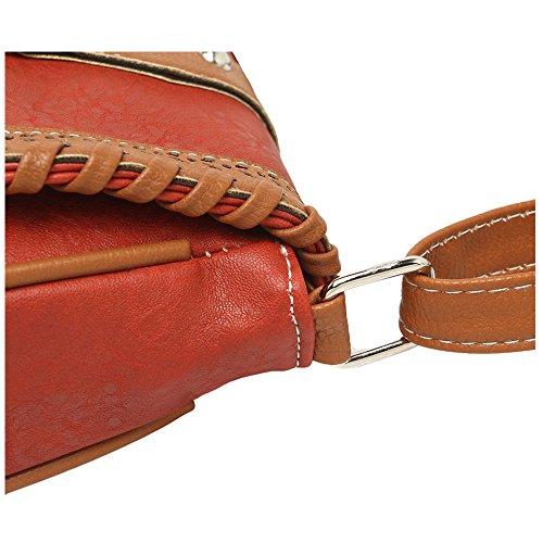 donna pacchetto diagonale - SODIAL(R)donna moda PU pelle tessere pacchetto diagonale£¨Castani Scuri£© Rosso