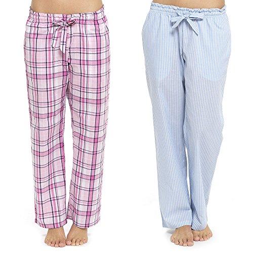 Foxbury - Bas de pyjama - Femme 2 Pack (Pink Check + Blue Stripe)