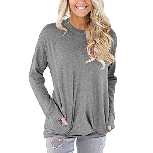 Damen Langarm Shirt Sunday Lässig Baumwolle Solide Lose Taschen T-Shirt Blusen Tops (Grau, L) (Lace Baumwolle Rock)