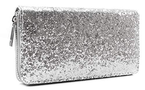 CAPRIUM Geldbörse mit All Over Pailletten, umlaufender Reißverschluss, Portemonnaie, Damen 00055002 (Silber)