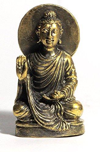 AFG Sculpture Meditierender Buddha Statue 5,1cm Messing Figur Home Decor -