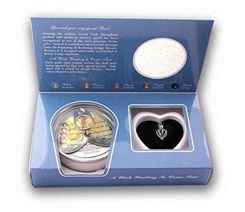 Pearlina Herzförmige Medaillonkette aus Sterlingsilber-Wunschperle, die im Austernspiel kultiviert Wird für Damen 18