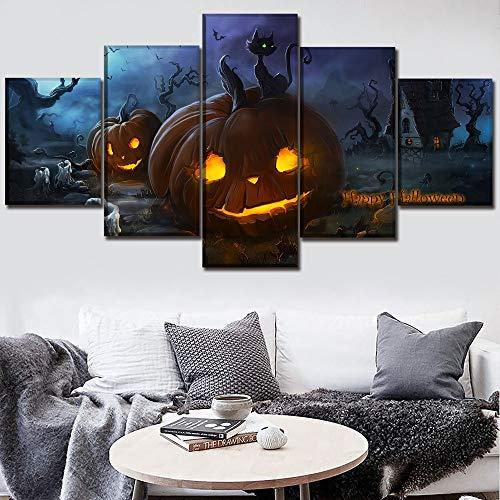 (Mddrr Leinwand Halloween Malerei Wohnkultur Rahmen Hd Druck 5 Stück Kürbis Und Katze Poster Für Wohnzimmer Wandkunst Modulare Bild)