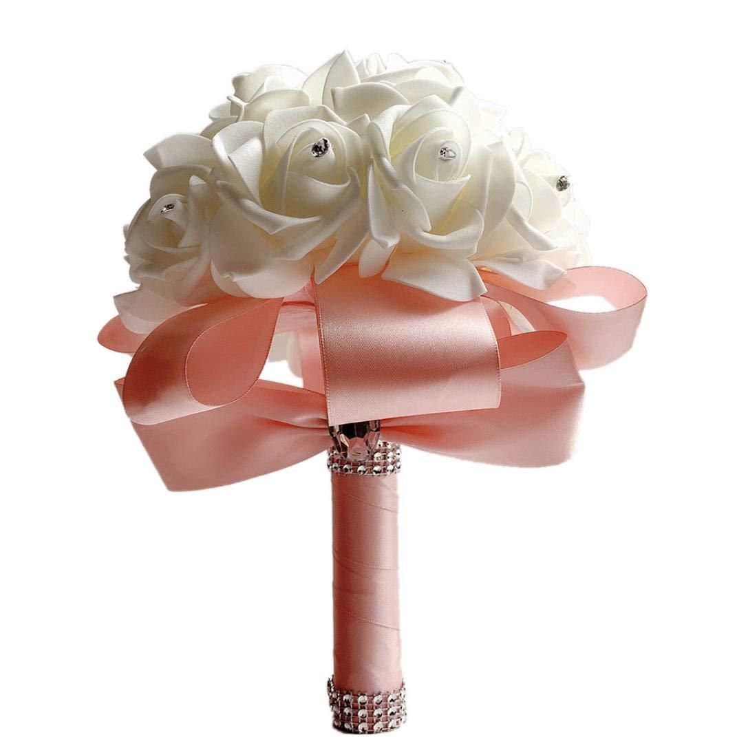 Ramos De La Boda para El Ramo De Novia Novia De La Rosa con Cristales Cintas Suaves Flores Artificiales De Rose para La…