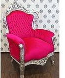 Casa Padrino Barock Sessel King Pink/Silber - Luxus Antik Stil Möbel