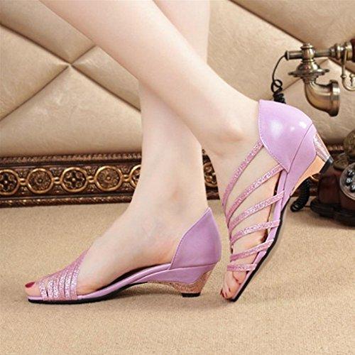 DM&Y 2017 sacchetto di colore solido primavera e l'estate di pesce sandali capi scarpe casual selvaggio con i sandali a tacco alto delle donne Purple