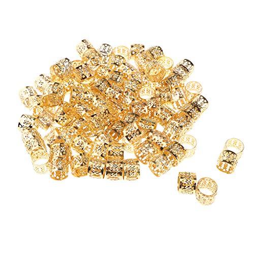 Homyl 100 Stücke Herz Metall Manschette Haarverlängerung Dekorationen Dreadlocks Perlen - Gold - Herz-manschette