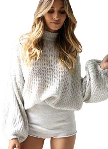 YAANCUN Damen Dicker Strick Lange Ärmel Plus Size Strick Pullover