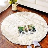 FIOFE/Runde Teppich Studie Teppich Drehstuhl Teppich Couchtisch Schlafzimmer Korb (Farbe : Beige, größe : Diameter 1m)
