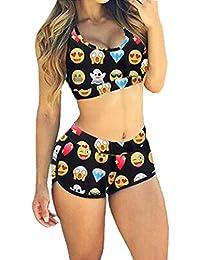 SUNNOW® Femme/Fille Bikini Maillots de Bain Rembourré 2 pièces Dessin Imprimé Emoji soutien-gorge Push-up Shorty