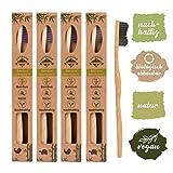 4unidades ♻ bambú cepillo de dientes con puro de bambú madera ✮ Vegano) ✮ biodegradable ✮ 100%...