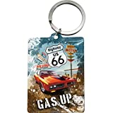 Nostalgic-Art 47023 US Highway 66 Red Car Gas Up, Schlüsselanhänger, 6 x 4,5 cm