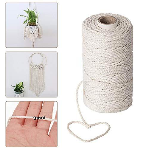 Cordoncino macramè, 200 m x 3 mm, corda in cotone naturale, corda intrecciata in macramè biologica, per appendere piante fai da te, artigianato, lavoro a maglia