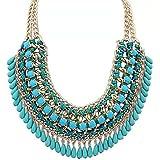 Goliton® Damen Modische Mode Großer Edelstein Halskette und Anhänger Halsband Frauen Schmuck Frauenschmucksache Kollier - Blau