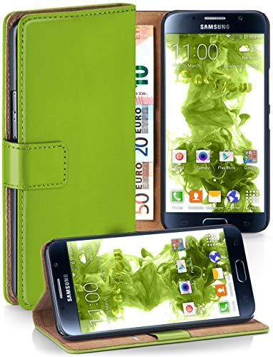 MoEx® Booklet mit Flip Funktion [360 Grad Voll-Schutz] für Samsung Galaxy S6 | Geldfach und Kartenfach + Stand-Funktion und Magnet-Verschluss, Grün