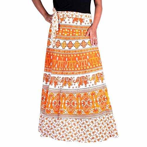 Beautiful Cotton Wrap Around Ethnic Print Beach Wear Coverup Long Skirt Hippie