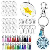 ‏‪Keyzone 96 Pieces Acrylic Transparent Circle Discs, 2 Inch Diameter Round Clear Acrylic Keychain Blanks and Tassel Pendant Keyring Set for DIY Projects and Crafts (96)‬‏