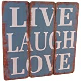 Live, Laugh, Love Color Azul), diseño vintage Lovely–Placa de pared, diseño de escudo con texto en inglés envío gratuito