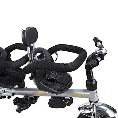 FASCOL® Cochecito de lujo de tres ruedas de la bicicleta de la bici de doble asiento para niños de 1-6 años de bebé de los niños con gran canasta de juguete (Negro)