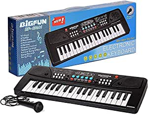 BIGFUN Cosset Pack 37 Key Piano Keyboard Toy with Mic Dc Power Option Recording for Boys and Girls
