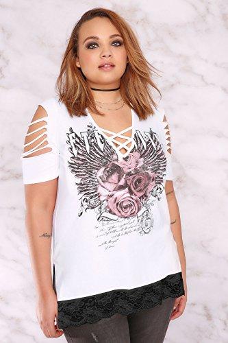 Yours Clothing - Polo - À Fleurs - Manches Courtes - Femme blanc blanc Blanc