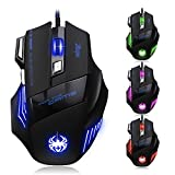 ZELOTES T80 Professionale Mouse da Gioco,7200 DPI,Ottico USB Mouse Gaming Wired Mouse da Gaming con 7 Pulsanti per Pro Gamer Computer PC Notebook MAC(Nero)