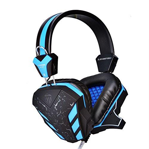 ZENWEN Spielspezifische Kopfhörer Kopf trägt Stereo-LED-Licht knacken Mikrofon 3,5 mm Stecker Bass Lärm Band Mikrofon pc Laptop HEA DSET (Band-mikrofon)