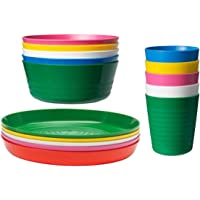 IKEA KALAS Children's Bowl Tumbler and Plate Set of 6 of Each Multi Coloured
