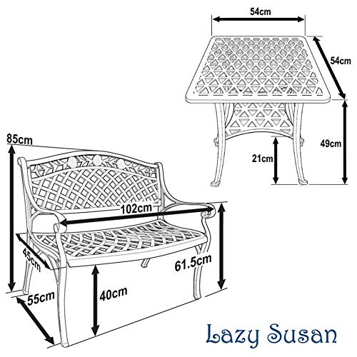 Lazy Susan – SANDRA Quadratischer Kaffeetisch mit 1 ROSE Gartenbank – Gartenmöbel Set aus Metall, Antik Bronze - 7