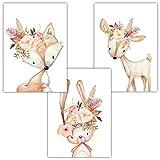 Frechdax® 3er Set Kinderzimmer Babyzimmer Poster Bilder DIN A4 | Mädchen Junge Deko | Dekoration Kinderzimmer | Waldtiere REH Fuchs Hase (3er Set Blumen, Fuchs, Hase, REH)