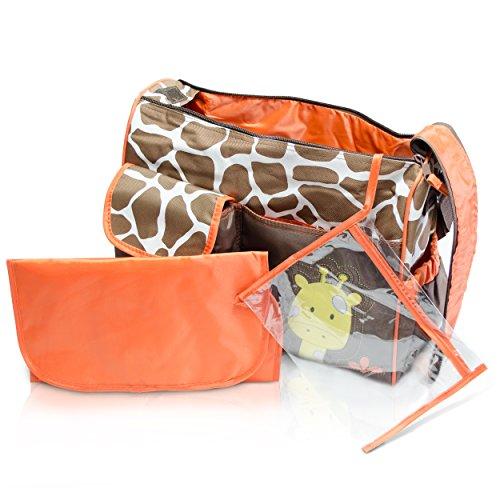 Wickeltasche mit Giraffen-Muster, braun - 7
