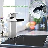 Dpower Waschbeckenarmatur Waschbecken Wasserhahn Chrom Quadrat Wasserfall Wasserhahn für Badezimmer