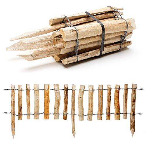 Natürlicher Steckzaun aus Holz in 3 Größen ( Haselnuss ) mit integrierten Pfosten · Rollboarder für Beetumrandung und Wegabgrenzung · 33 x 120 cm