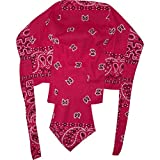 Paisley Leaf Red Zandana Bandana Biker Running Motorcycle Chef Hat Beach Sun Cap